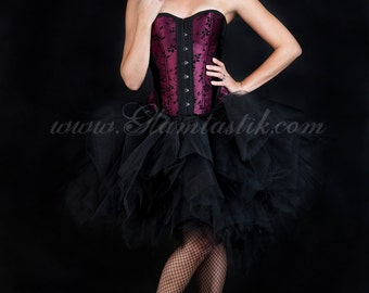Size Small Burgundy and black skulls and tulle burlesque prom dress witch costume Ready to Ship