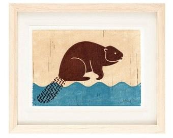 BEAVER Linocut Reproduction Art Print: 4 x 6, 5 x 7