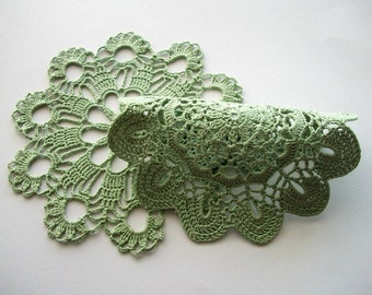 Green Crochet Doily Set Heirloom Quality 2 pieces