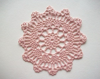 Crochet Doily Dusty Pink Cotton Lace Heirloom Quality