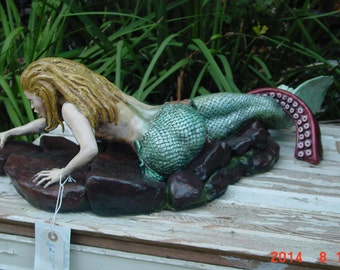 """Mermaid Sculpture titled """"Out of the frying pan"""""""