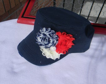Womens hats * baseball cap Millitary cadet hat 4th of July Navy blue distressed hat Red white blue flowers shabby chic flower hat