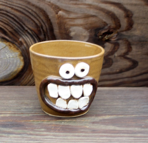 Stoneware Drinking Glass Toothbrush Holder. Dark Gold Pottery Tumbler. Funny Smiley Face.