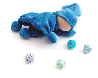 Blue waldorf elf Teething waldorf doll for baby ready to ship / boy toys- Rattle - bell in his hat