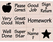 Teacher Stamp • Messages from your Teacher (Set of 11 • Good Job, Super Star, Very Good, Well Done, Sign & Return) Woodblock Stamp (LL414)