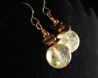 Citrine & Mixed Metals Earrings, Wellness Jewelry, Money Stone