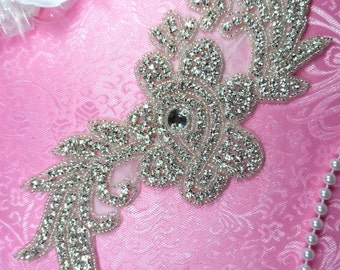 "N1 Silver Beaded Crystal Rhinestone Applique Flower 8.5"" (N1-slcr)"