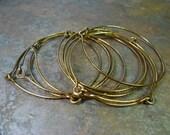 Hammered Brass Bangle Bracelet Set - Large Size - 10 Bangles