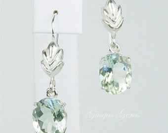 Prasiolite (Green Amethyst) Dangle Earrings Sterling Silver 11x9mm Oval 6ctw