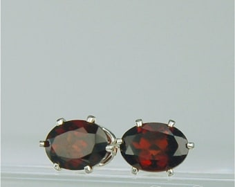 Garnet Stud Earrings Sterling Silver 7x5mm Oval 2ctw Natural Untreated