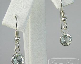 Prasiolite (Green Amethyst) Sterling Silver Dangle Earrings 6mm 1.40ctw