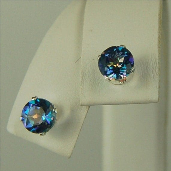Mystic Blue Topaz Earring Studs Sterling Silver 6mm Round 2.10ctw