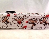 Love Monkeys with Red Valentines Day Hearts on White Dog Collar