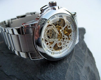 Luxury Silver Mechanical Wristwatch - Stainless Steel Wristband - Automatic - Men - Steampunk - Wrist Watch - Groomsmen Gift - Item MWA259