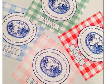 Gingham chinoiserie gift tags