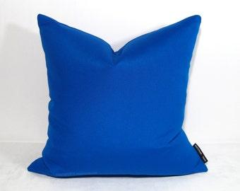 "INVENTORY SALE, (20"") Cobalt Blue Outdoor Pillow Cover, Decorative Throw Pillow Case, Modern Bright Pacific Blue Sunbrella Cushion Cover"