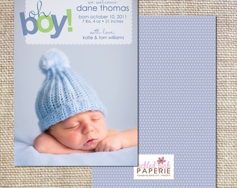 Birth announcement with blue knit hat--oh boy!