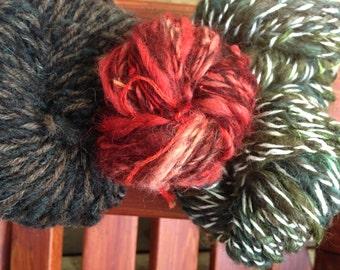 176  Yards Handspun Hand Dyed Icelandic and Bamboo Yarn