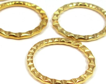 Round 18k gold plated connectors, 20mm  - 4 pieces