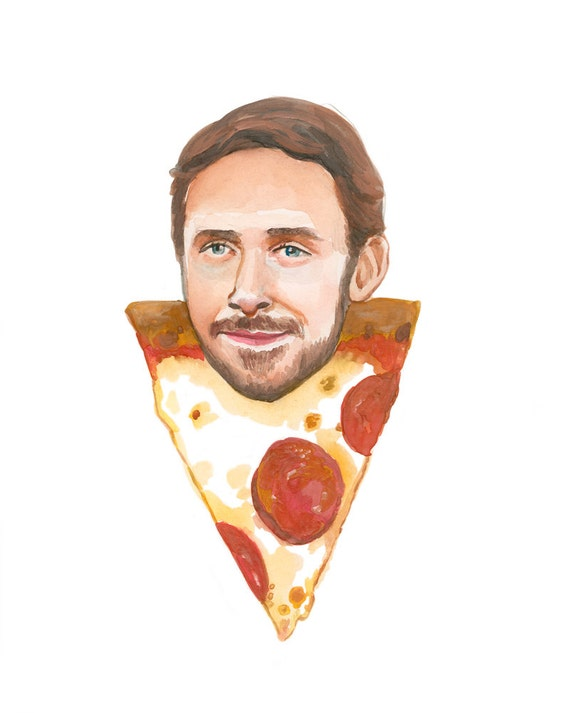 Ryan Gosling as a slice of pepperoni pizza Print