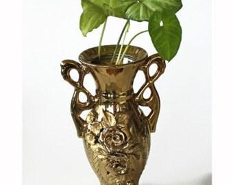 Art Nouveau Ceramic Floral Vase, Gold Glazed Rose Flowers Relief  Handles Vintage Hollywood Regency