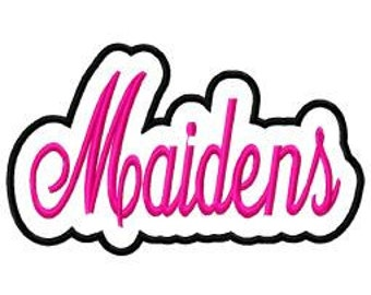 Maidens Script with Shadow Embroidery Machine Applique Design 4103