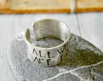 sterling silver cuff ring with hand stamped quote