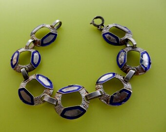 Italian Bracelet 1960 - Gorgeous great Italian bracelet - Silver 800 and blue cobalt enamel -- Art.301/3-