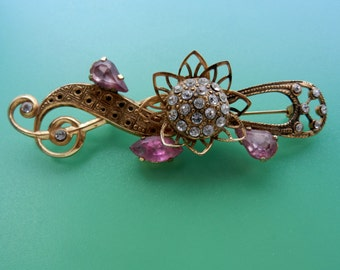 Adorable large  1960 old Italian brooch - a flowering branch with pink crystals and bright flower -- Art.317/3---
