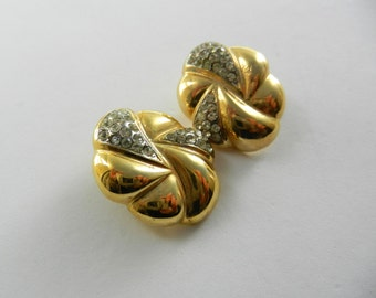 1960 Exquisite Italian deco gold and crystal earrings - elegant high-quality design --Art.331/3 -