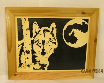 WOLF And MOON FRAMED Scroll Saw Art Work
