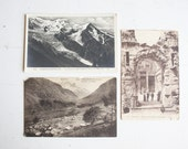 Vintage French Postcards, Vallorcine, Chamonix, Nimes, Mantel or Wall Decor, Sepia and Black and White, Ruins, Mountains