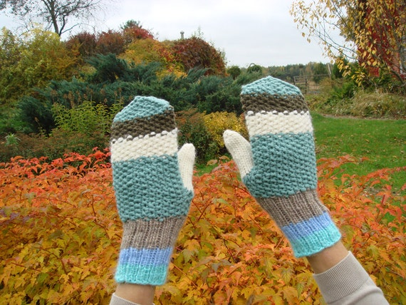 Blue Mittens, men gloves, fall, winter accessory for him