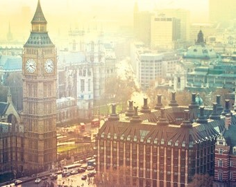 London Art, Big Ben, Aerial Photography, Travel Europe, Brown Yellow Tan Blue Gradient, Urban, City London, London Big Ben