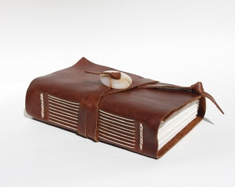 Brown Leather Journal or Leather Sketchbook, Leather Notebook Blank Book - Handmade