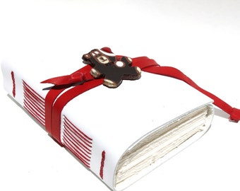 Santa Bear - White Leather Journal or Sketchbook, Blank Book - Handmade