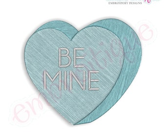 Candy Heart Be Mine Filled - IInstant Download -Digital Machine Embroidery Design