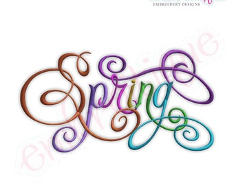 Spring Calligraphy Script Embroidery Design - Small- Instant Email Delivery Download Machine embroidery design