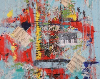 Moving SALE COLORS of MUSIC Original Oil On Gallery Wrap Canvas 24 x 36 X 3/4  was 525.  now 300