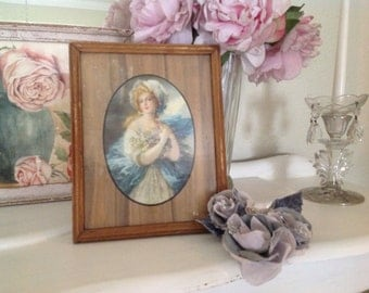 Beautiful Old Picture Of A Lady Reverse Side Is A Mirror Aqua Shabby Chic Romantic Decor