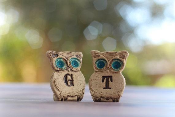 Custom owls cake topper Cute cake topper Initials cake topper