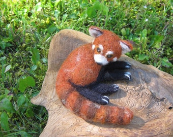 OOAK Baby Red Panda Needle Felted Soft Sculpture