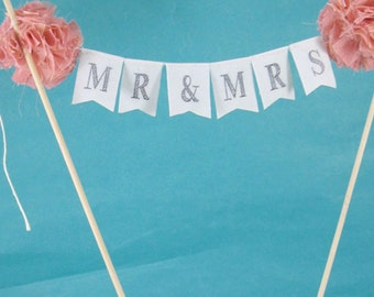 """Cake banner, Coral wedding cake bunting,  """"Mr & Mrs"""" Banner A304 - shabby chic wedding cake topper"""