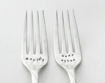 Custom Hand Stamped Vintage Happily ever after forks Goozeberry Hill - Perfect wedding gift ~ Personalise with the Wedding Date or surname
