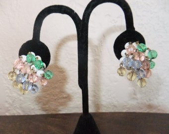 Vintage Earrings Clip On Pale Colored Beads Dangly Western Germany Stamped Costume Jewelry Retro