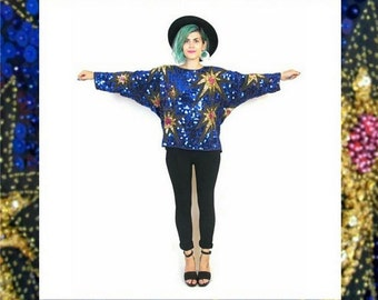 80s Starburst Sequin Blouse Slouchy Glam Beaded Trophy Shirt Sheer Black Blue Gold Fancy Batwing Blouse (L)