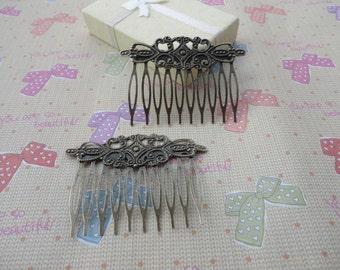 20 pcs Nickel Free Antique Bronze Plated Hair Comb with 10 Teeth Barrette Pin 65x45mm