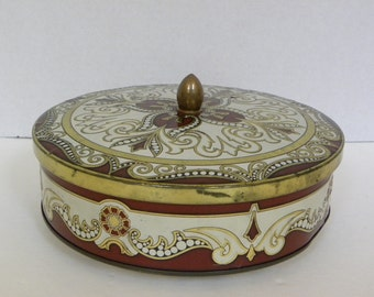 Vintage Round Art Deco Confectionery Tin -- Made of England -- Embossed Design in Red Gold Cream