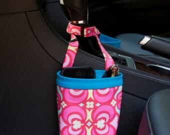 CAR CELLPHONE CADDY, Amy Butler Garden Maze Red, Sunglasses Holder, Golf Cart Bag, Pool Chair Caddy, Beach Chair Bag