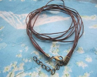 antiqued bronze finish -10pcs 1mm 5 multiple strings 16-18 inch adjustable  brown waxed cotton necklace cords with lobster clasp